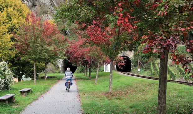 De grote tunnel bij Mayschoss, onder de kasteelruïne door...