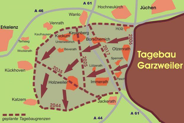 Een deel van de huidige groeve (bruin) met de geplande uitbreidingen tot 2044. De plaatsen Holz, Borschemich, Otzenrath, Spenrath en Pesch zijn al verdwenen (rechts van de stippellijn 2017). Immerath wordt momenteel afgebroken, Lützerath is nog grotendeels bewoond.