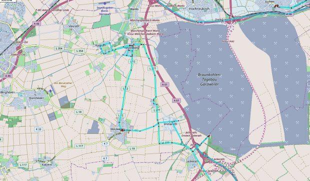 De kaart, maar nu ingezoomd. Behalve het half afgebroken Immerath staan ook de door ons bezochte dorpen Holzweiler, Kuckum en Keyenberg op de nominatie om te verdwijnen.