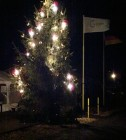 Kerstboom op de camperplaats in Goch.