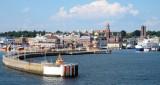 De Zweedse havenplaats Helsingborg komt in zicht.