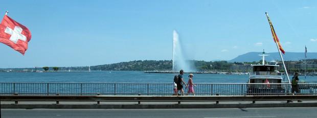 De bekende fontein (35m hoog!) van Geneve.