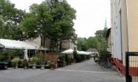 Het terras van de Dampfe bierbrauerei.