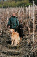 Femma in een nog kale wijngaard in het Ahrdal, met onze honden Bas en Bykje.