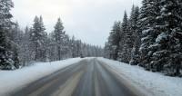 """De weg is nog aardig """"schoon"""", de bomen kleuren al wat wit."""