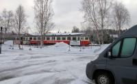 De Inlandsbana passeert ons camperplekje, de beroemde trein tussen noord- en zuid-Zweden.