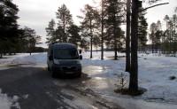 Ondergaande zon op de camping in Idre. Het kwik zal zakken tot 11 graden onder nul!