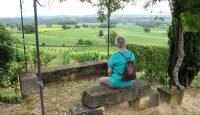 Onderweg in de wijngaarden van het Chateau; een uitkijkplekje.