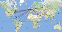 De verschillende landen waarmee ik verbinding heb gemaakt.