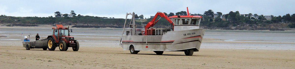Een amfibivoertuig zoals die worden gebruikt door de mosselkwekers.