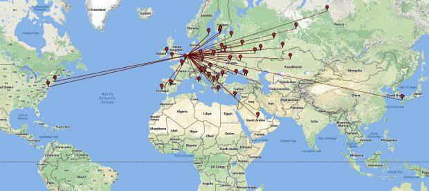De verschillende landen voor ozver die apart geteld worden.