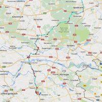 Onze route over de Veluwe naar Uden, keurig bijgehouden door APRS.
