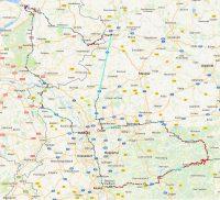 De gereden route. Tussen Essen en Bentheim waren we een tijdje onze internet-verbinding kwijt.