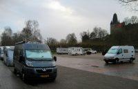 De 'nieuwe'camperplaats in Bad Bentheim, in het stadspark onder de burcht. Niet bijzonder, zo bij de winterdag.