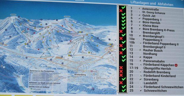 Wij staan bij piste 13, Nordhang. Aan het rode kuisje is te zien dat ie nog niet open is.