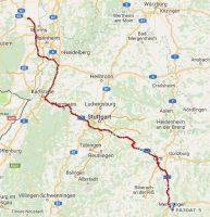 De tweede dag, van Gundersheim (bij Worms) naar Memmingen.