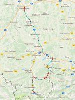 De route van Memmingen, via Kempten, Unterjoch en Sonthofen naar Oberstdorf.