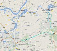 De route op zaterdag, van en naar het Autotron (linksonder) en de overnachtingsplaatsen (rechtsboven).
