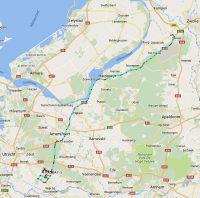 De route van vrijdag naar Doorn (tracking pas bij Wezep ingeschakeld) en de zaterdag. De terugweg op zondag vergeten...