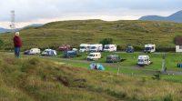 Blik over de camping vanaf het huis van Ally Young, MMoLUP.
