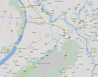 De route van Kampen naar de camping op 't Harde v.v.