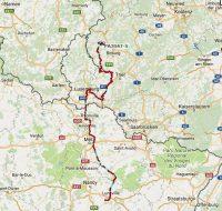 De route van vandaag door Frankrijk en Luxemburg.