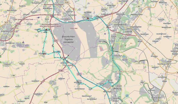 Hetzelfde gebied, nu op een kaartje van OSM (Open Street Map). Linksvan de A61 ligt Immerath.