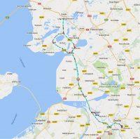 De terugweg. Joeri maakte een westelijk ommetje in Friesland! ;-)