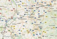 De route op vrijdag, van Valkenburg naar Dortmund.