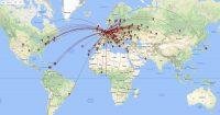 Een kaart-overzicht van de verschillende landen/staten waarmee ik verbinding heb gemaakt.