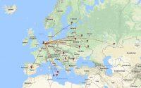 Door mij gewerkte landen in de 10 meterband, 28MHz.
