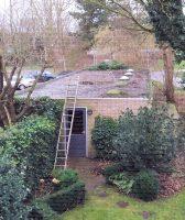 Slechte foto, maar op het dak staat de Wellbrook-loop op een statiefje...