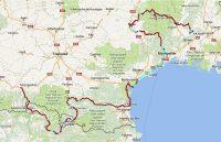 De route van maandag 7 t/m maandag 14 mei. Langs de middellandse Zeekust missen we een stuk; de app was vastgelopen.
