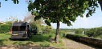Camperplaats in La Réole, met fantastisch uitzicht (als je -zoals wij- het mooiste plekje hebt!)