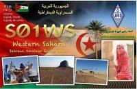 Geplukt van internet: de QSL-kaart van S01WS in Westelijke Sahara.