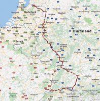 De route van de laatste week, via Friedrichshafen en Enschede.