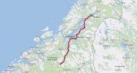 De route van Oppdal, via Trondheim en Steinkjer, naar ons plekje onder het meer.