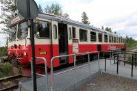 De beroemde Inlandsbanan, het treintje dat van oudsher zuid- en noord-Zweden met elkaar verbindt.