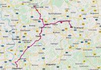 De route van Düsseldorf via Essen naar Dorsten.