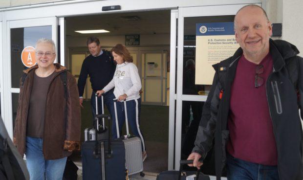 Femma en Aloys bij aankomst in de VS.
