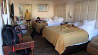 Een kamer met twee 2-persoons bedden.