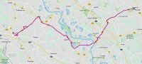 De route van vandaag: Goch, Kalkar, Xanten, Weser en Raesfeld.