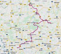 De route van Dampfe in Essen naar Coesfeld.