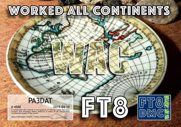 Ik heb op de korte golf verbindingen gemaakt met 6 continenten: Europa, Azië, Afrika, Noord-Amerika, Zuid-Amerika en Oceanië.