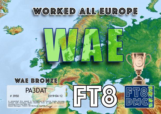 Brons: verbindingen gemaakt met radioamateurs in minimaal 40 Europese landen.
