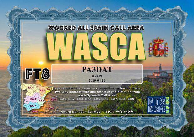 Verbinding gemaakt met alle 9 Spaanse call-gebieden. EA6 = Balearen, EA8 = Canarische Eilanden, EA9 = Spaans Marokko (Ceuta en Melilla).