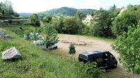 Op de camperplaats in Entraygues-sur-Truyère.