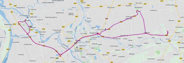 Op de heenweg de kortste route, terug via Dick in Nieuwleusen om de repeater terug te brengen, en Herman in Kampen om een antenne af te leveren.
