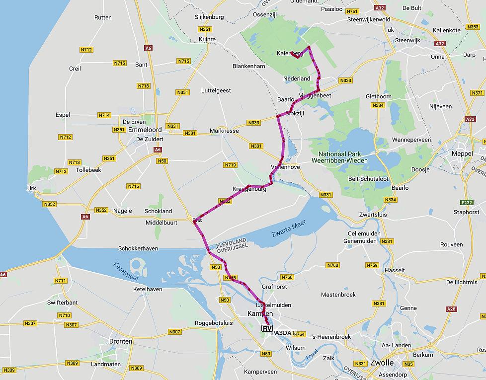 De route naar Kalenberg, middenin de Weerribben.