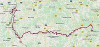 De route van maandag 28 oktober 2019: exact 150km.